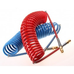 COIL AIR HOSE 15FT TWIN RED & BLUE FOR TRUCK